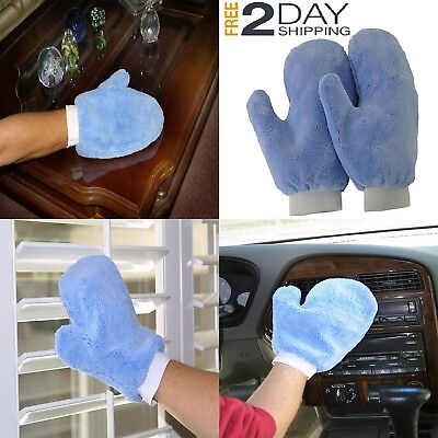 2 pcs Microfiber DUSTING Gloves MITT High Performance Terry Weave Cleaning Cloth
