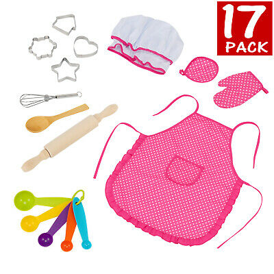 Kids Kitchen Toy Cooking Baking Set Girl Costume Chef Toddler Role Play Gift US