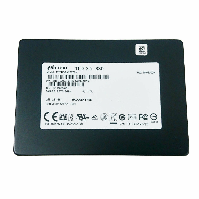 """Micron 2TB 3D NAND SSD 2.5"""" SATA Solid State Drive MTFDDAK2T0TBN-1AR1ZABYY - NEW"""