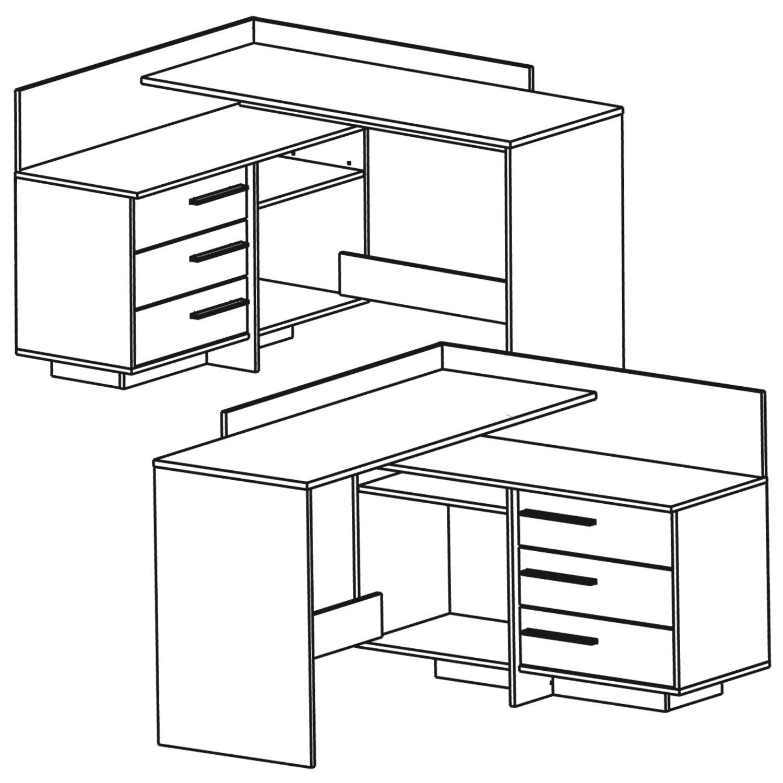 eck schreibtisch 881 sonoma eiche wei computertisch. Black Bedroom Furniture Sets. Home Design Ideas