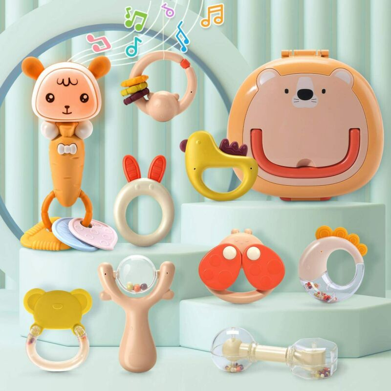 Baby Rattles Shakers Teethers Set 9Pcs Grasp with Gift Box Toys Musicial Playset