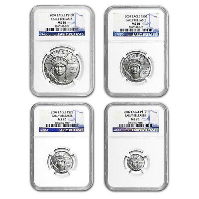 Platinum Ngc Coin Set - 2007 4-Coin Platinum American Eagle Set MS-70 NGC (ER)