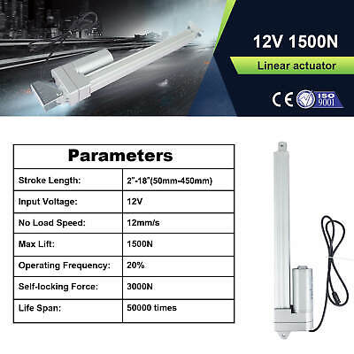 1500n Linear Actuator 50mm-450mm 12mms Ip54 Low Noise 42 Db Waterproof