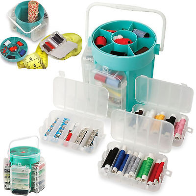 210 PC DELUXE SEWING KIT SET + STORAGE CADDY BOX THREAD NEEDLES PINS BUTTONS NEW