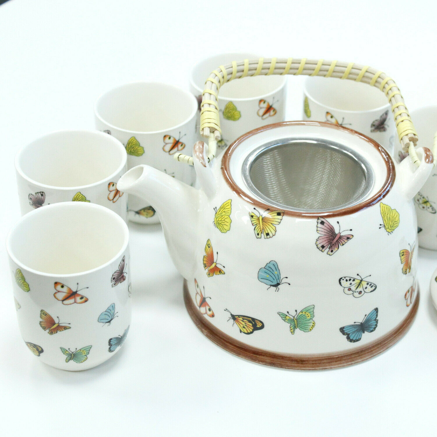 Decorative Retro Style Ceramic Herbal Teapots & 6 Matching Tea Cups Set New Gift