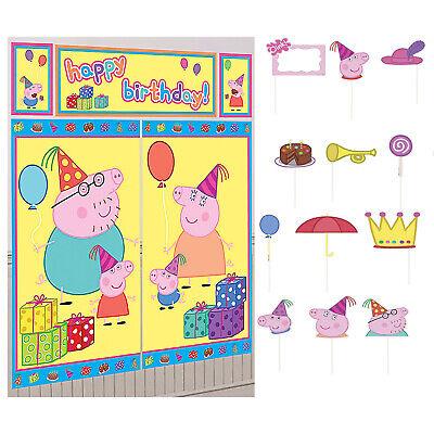 Birthday Wall Decorations (PEPPA PIG Scene Setter Happy Birthday Party Wall Decorations kit + Props)