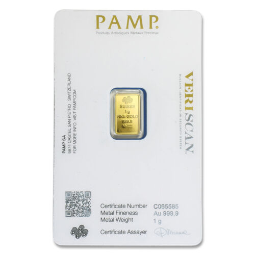 1 gram Gold Bar - PAMP Suisse Lady Fortuna Veriscan® (In Assay) - SKU #82249
