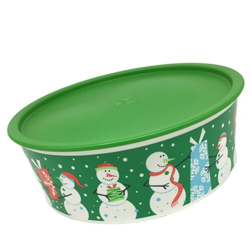 Tupperware Holiday Cookie Canister Winter Snowmen Presents Greens Seal