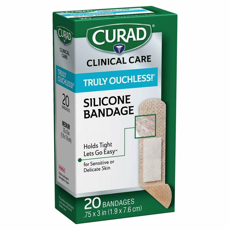 Curad Truly Ouchless Silicone Adhesive Bandages, Fabric Band