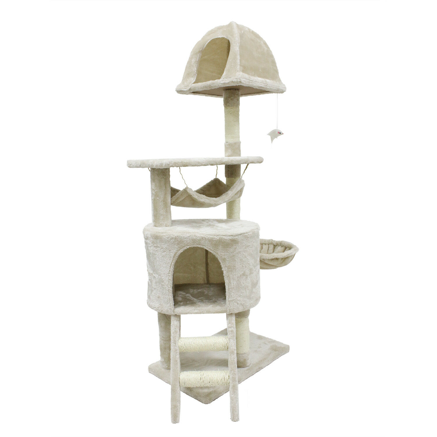 Cat Tree Beige Kitten Condo Furniture Scratching Post Pet Toy Play House
