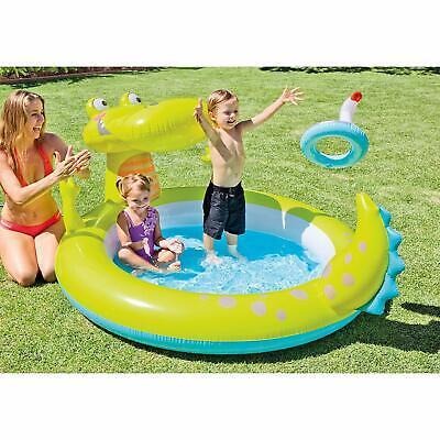 Intex 57431NP Schwimmbad Aufblasbar Alligator 198x160x91cm,170 Liter mit Sprüher