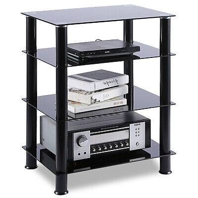 TV Stand Audio Video Tower 4-tiers Shevles for TV Media Games Consoles Hi-fis