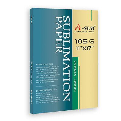 A-sub 150 Sheets 105g Sublimation Paper 11x17 Heat Transfer Cotton Poly T-shirt