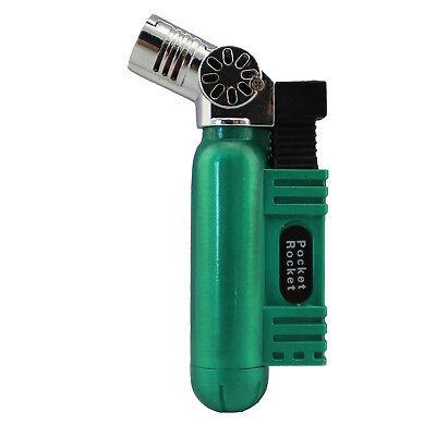 Pocket Rocket Single Jet Flame Butane Cigarette Cigar Torch Lighter - Green
