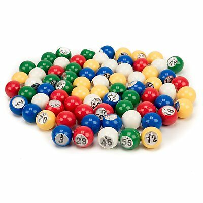 7/8-Inch Plastic Multi-Color Bingo Balls Set with Easy Read Window (75#) - Bingo Game Set