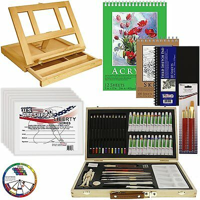 68pc Artist Acrylic Painting Set - Wood Table Easel, Paint, Canvas & Accessories