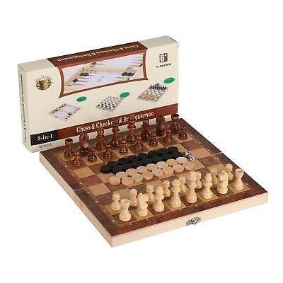 3-in-1 Wood Combination Chess, Checkers, and Backgammon Game Set Home Edition