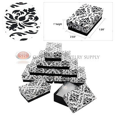 """12 Black Damask Print Cardboard Cotton Filled Jewelry Gift Boxes 2 5/8"""" x 1 5/8"""""""
