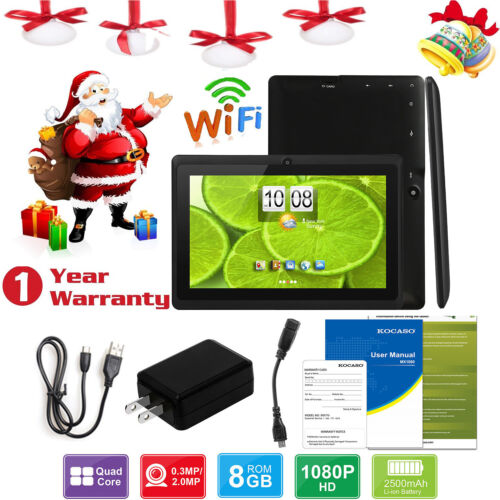 7'' inch Quad Core HD Tablet for Kids Android 4.4 KitKat Dual Camera WiFi Gifts