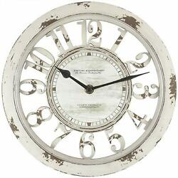 """Antique Contour 10"""" Round Shabby Chic Style Distressed Decor Ivory Wall Clock"""