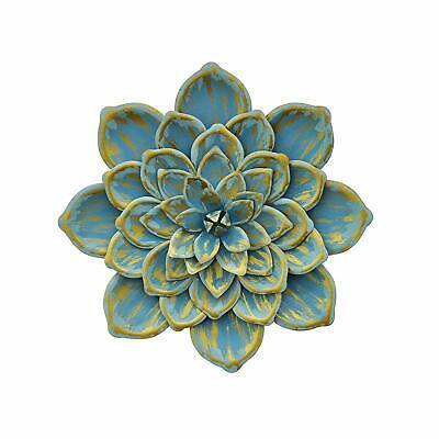 "Three Hands Indoor Patina Floral Flower Sculpture Metal Wall Art - 13.5"" - Blue"