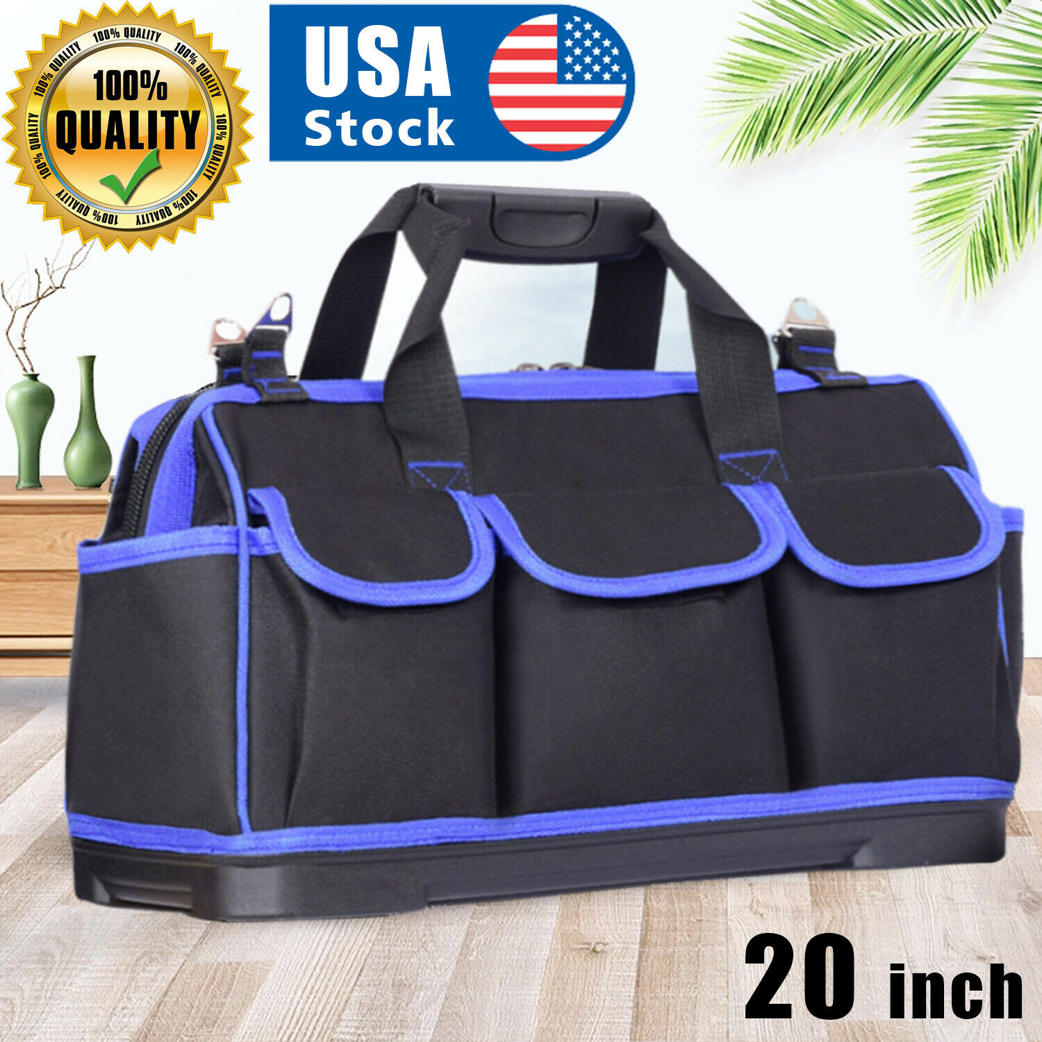 USA Tool Bags 20 inch Waterproof Top Wide Mouth Electrician Bags Pouch Organizer Home & Garden