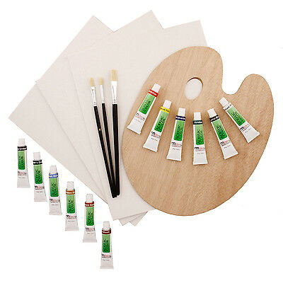 US Art Supply 19 Piece Acrylic Painting Set Canvas Panels, 12 Colors, Brushes