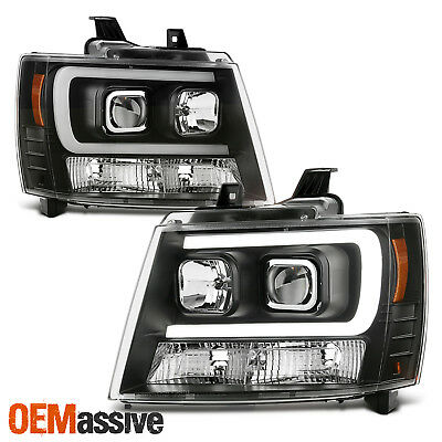 Fits 07-14 Chevy Suburban | Tahoe | Avalanche Black LED DRL Projector HeadLights