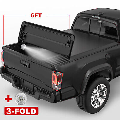 Tri-Fold 6FT Truck Bed Soft Tonneau Cover For 2005-2015 Toyota Tacoma Waterproof