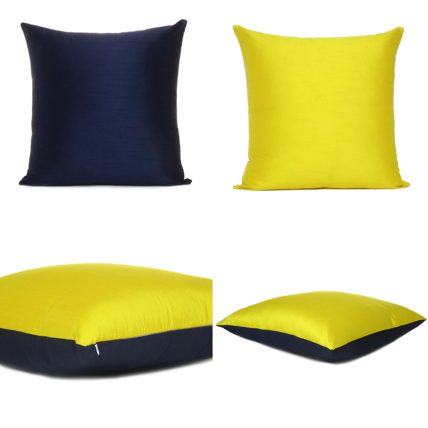 yellow navy blue cover cushion both pillow