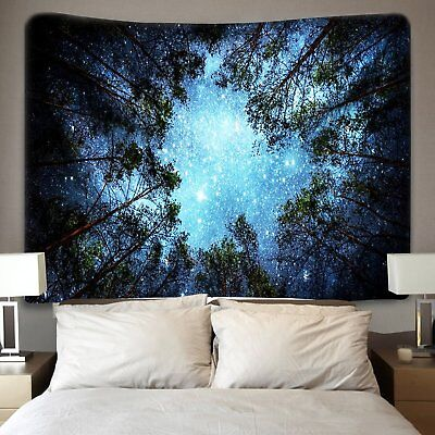 USA Night Forest Tapestry Starry Sky Wall Hanging Art Tree Bedspread Home Decor