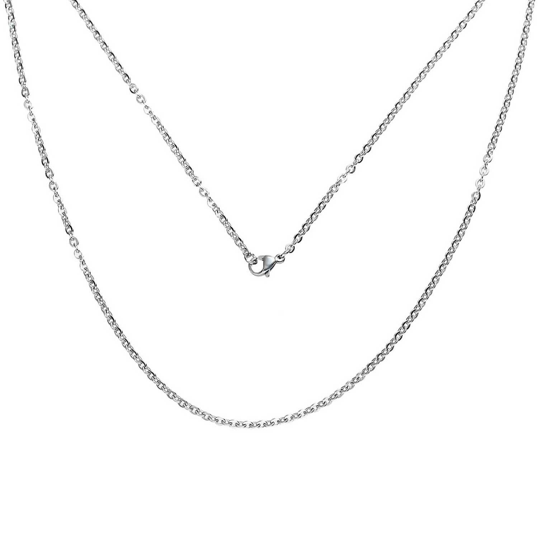 Edelstahl Gliederkette Silberfarben mit Karabinerverschluss 51cm lang