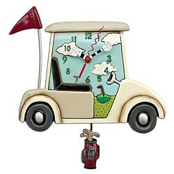 Allen Designs Stay The Course Golf Cart Whimsical Pendulum Wall Clock