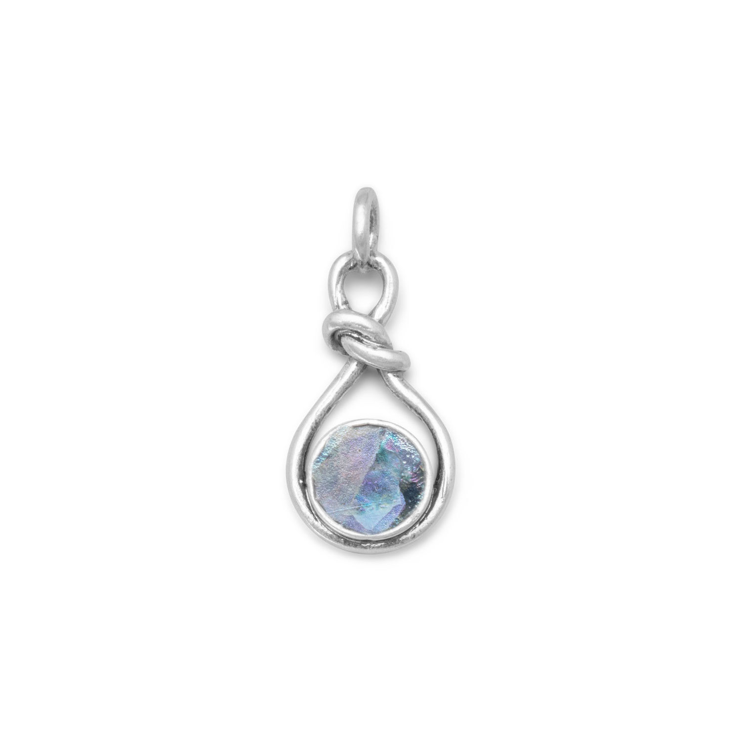 Round Roman Glass Set In Sterling Silver W/ Knot Design Pendant - $39.95