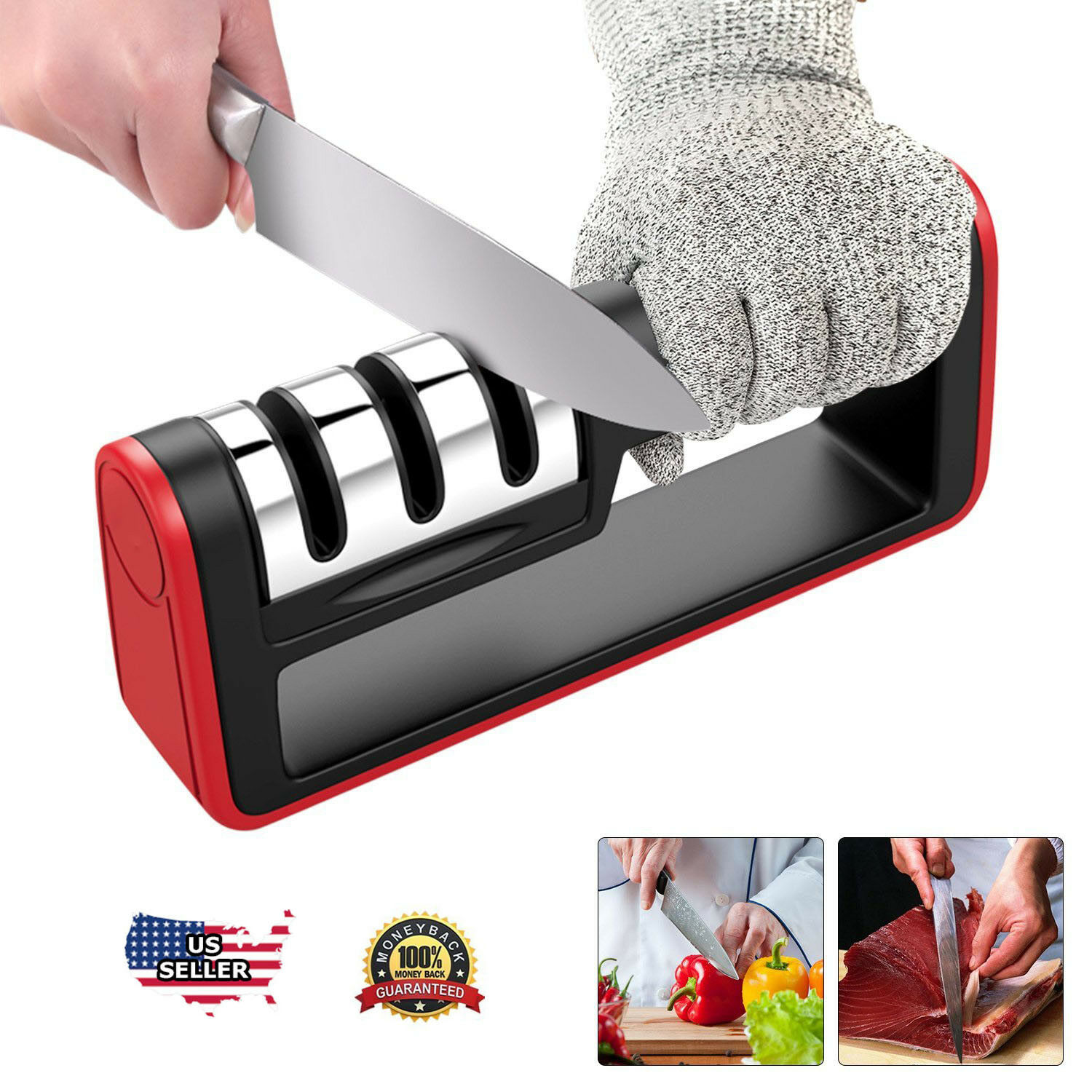 KNIFE SHARPENER Professional Ceramic Tungsten Kitchen Sharpening System Tool