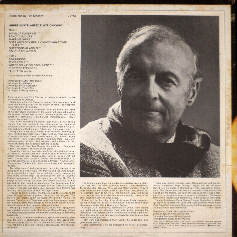 Andre Kostelanetz Plays Chicago EX/VG A1-1614 Vinyl LP - $10.00