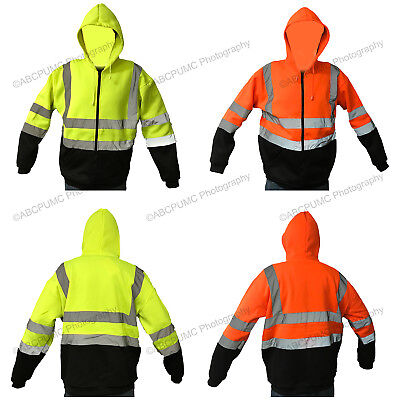 High Visibility Hooded Sweatshirts Zipper ANSI Class 3 Safety Fleece Workwear