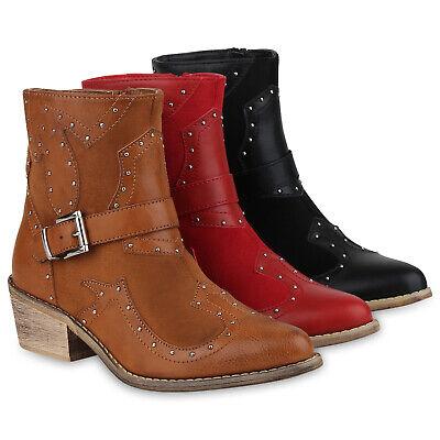 Knöchel Bootie Boot (Damen Stiefeletten Cowboy Boots Western Schuhe Nieten Booties 830054 Schuhe)