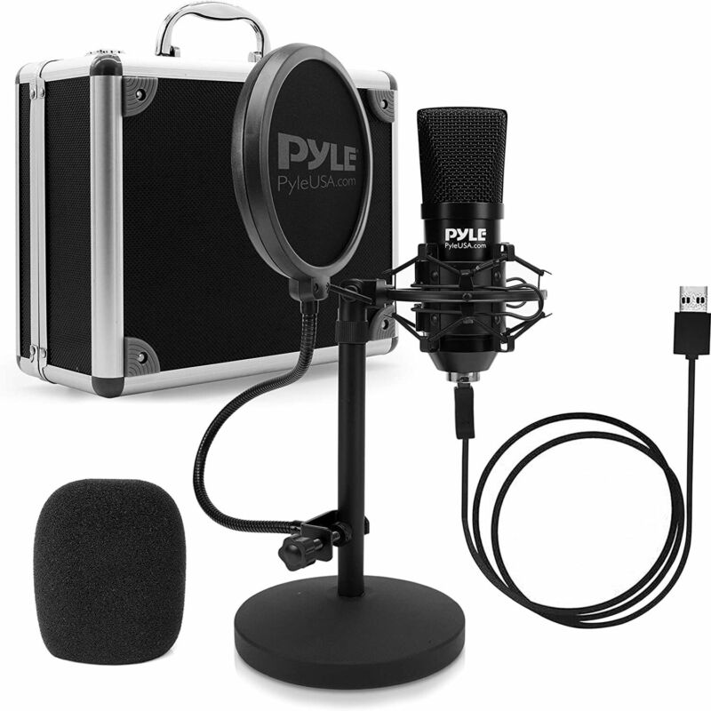 Pyle PDMIKT120 Pro Audio Recording Computer Microphone Kit with Travel Case
