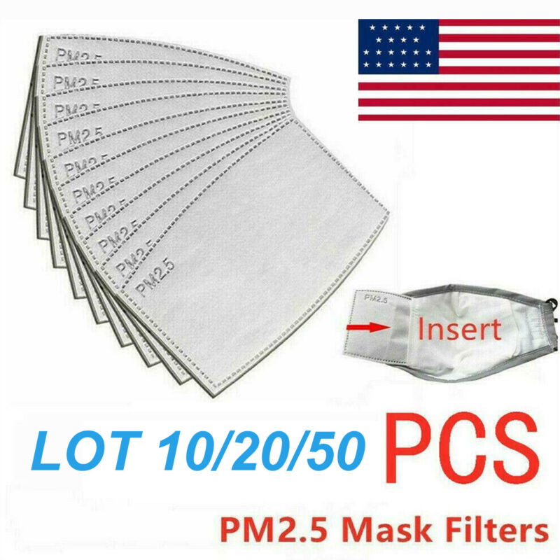 10-50 PCs Face Mask PM2.5 Filter Insert Activated Carbon 5 Layer Replacement