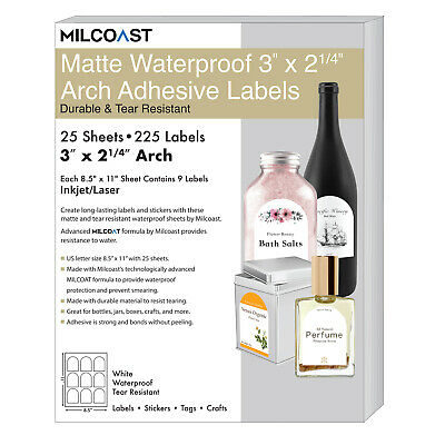 Milcoast Matte Waterproof White 3 X 2-14 Arch Labels - 225 Labels 25 Sheets