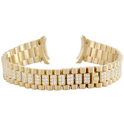 Ladies 18K Yellow Gold President Diamond Watch Band for Rolex DateJust 2.38 CT.