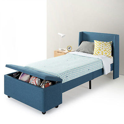 Platform Bed Set w Headboard and Storage Ottoman; Blue Kids Twin Bed Frame