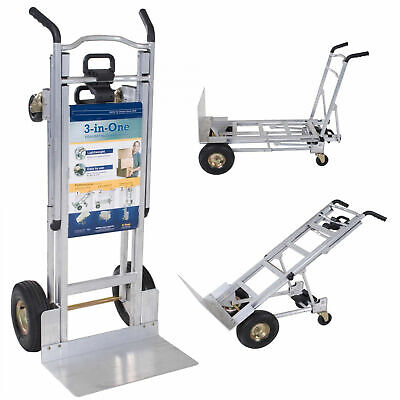 Cosco 3-in-1 Aluminum Hand Truck 1000 Lb Capacity Foldable Dolly Cart Ergonomic