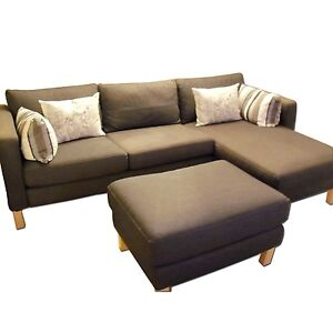 Ikea Karlstad Sofa Loveseat And Chaise Chair With Ottoman Foot Stool Ebay