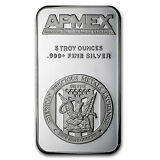 5 oz APMEX .999+ Fine Silver Bar - SKU #82688