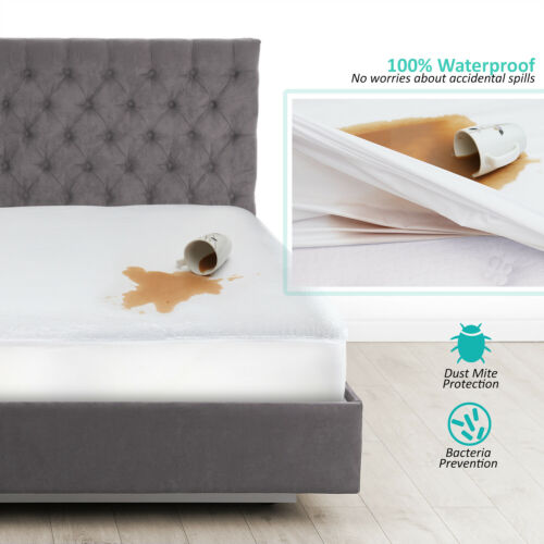 Cotton Terry Hypoallergenic Mattress Protector 100 Waterproof Fitted Cover Pad