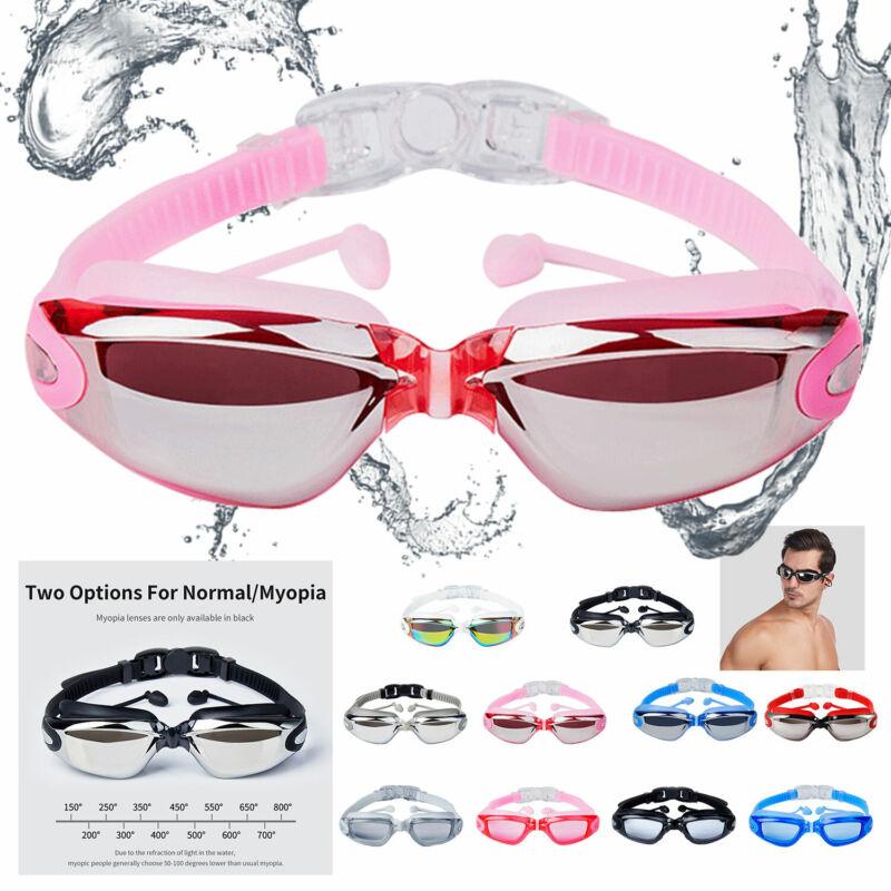 Mirror Clear Swimming Goggles Myopia Swim Glasses Anti-Fog With UV EarPlug Adult