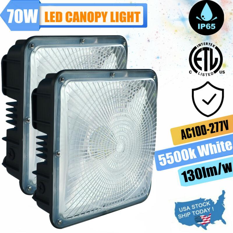 LED Canopy Light, 2 Pack 70Watt Gas Station Ceiling Lights for Warehouse Garages