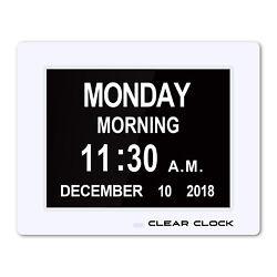 NEW Clear Clock Extra Large Digital Memory Loss Calendar Day Clock W Alarm White